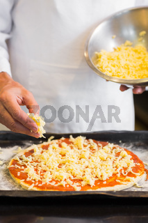 Mid section of a male chef preparing pizza