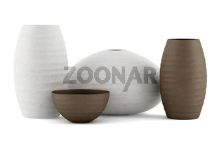 four brown and white ceramic vases isolated on white background