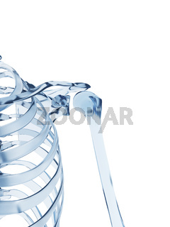 3d rendered illustration of a glass skeleton