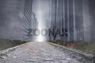Cityscape projection above stony path