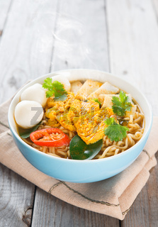 Spicy curry instant noodles.