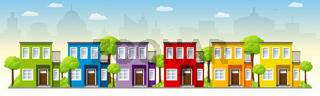 Bunte Häuser in der Stadt