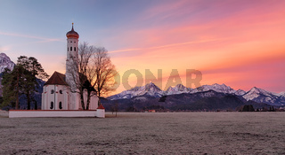 St. Coloman church at sunrise, Alps, Bavaria, Germany
