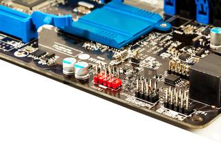 Part of laptop motherboard closeup