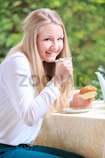 eating on a patio