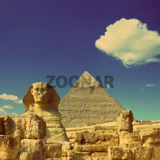 Cheops pyramid and sphinx in Egypt  - vintage retro style