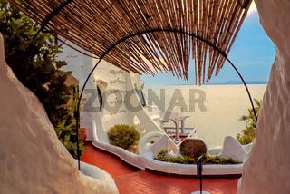Picturesque view of the terrace in Casa Pueblo de Carlos Paez Villaro in Uruguay