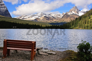 Bench on a shore of Lake O'Hara, Yoho National Park, British Columbia, Canada