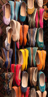 Moroccan colourful leather shoes on display