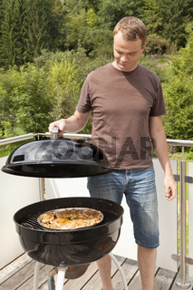 Grill master controls the grill chops