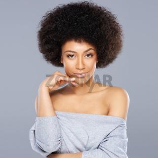 Beautiful dreamy African American woman