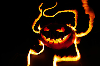 Burning halloween pumpkin