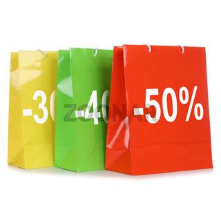 Einkaufstaschen oder Einkaufstüten mit Angebot oder Rabatt fürs Shopping