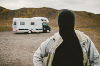 The Man with No Face Besides a Camper