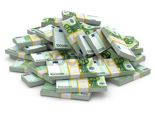 Heap of packs of euro. Lots of cash money.