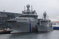 Militärschiff im Hafen, Reykjavik, Island