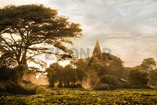Amazing golden sunset at Bagan Kingdom, Myanmar