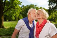 Glückliche Senioren lachen im Sommer