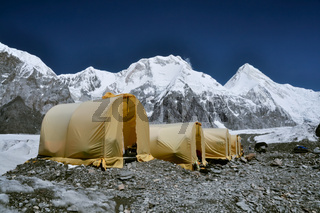 Basecamp on Engilchek glacier in scenic Tian Shan mountain range in Kyrgyzstan