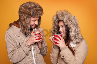 Portrait of a couple wearing a winter coats