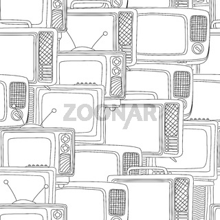 Seamless black and white tv pattern