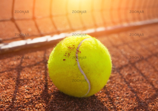 tennis ball on a tennis court