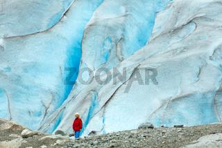 Girl near Nigardsbreen glacier (Norway)