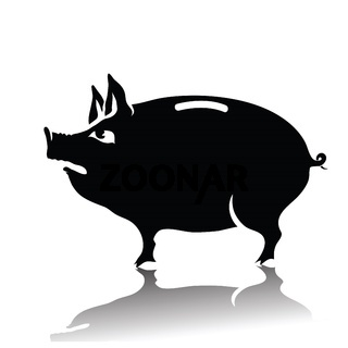 silhouette of piggy bank