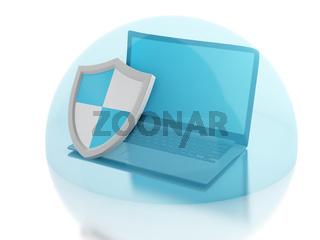 3d laptop with shield. internet security, antivirus concept