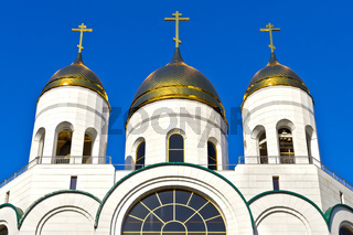 Golden domes of Christ the Savior. Kaliningrad, Russia