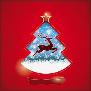 Christmas Tree Hole Snowfall Rentier Red PiAd