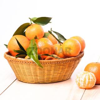 tangerines in basket
