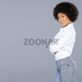 Beautiful African American woman with an afro