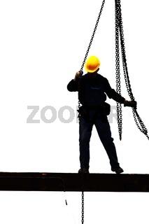 Silhouette eines Bauarbeiters