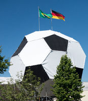 Soccer football with brasil german flag 2014
