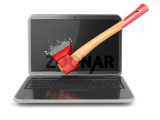 Laptop damaged by axe isolated on white background. Concept of anger when working at the computer or in internet.