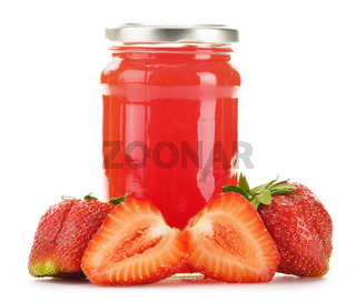 Jar of strawberry jam isolated on white background. Preserved fruits