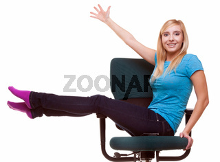 Beautiful girl relaxing on wheel chair