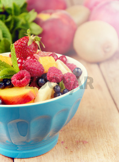 Fresh tasty fruit salad