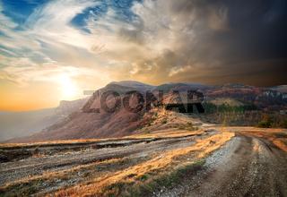 Sunrise in autumn mountains