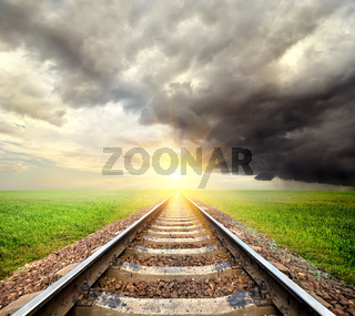 Railroad and clouds