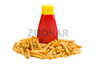 french fries with bottle of ketchup