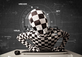 Hacker without identity in futuristic enviroment hacking personal information