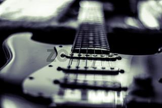 Nahaufnahme einer elektrischen Gitarre