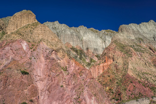 Colorful cliffs in valley Quebrada de Humahuaca in Argentina