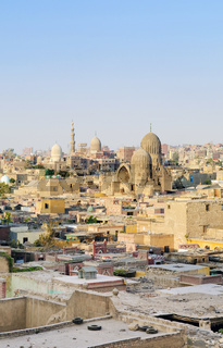 cairo old town with mosques in egypt