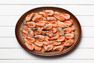 shrimps on white wooden table