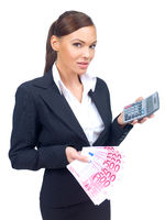 Businesswoman Showing Money and Calculator on Hand