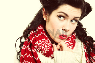 woman retro hairstyle warm clothing winter fashion
