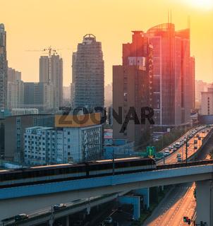 subway and modern city